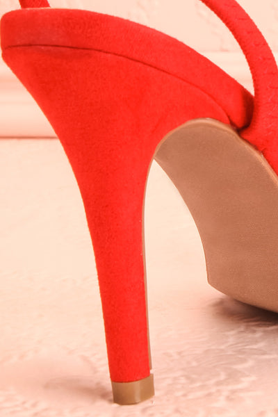 Orfila Red Slip-On Sandal Stilettos | Talons | Boutique 1861 back close-up