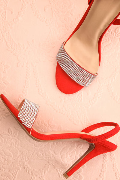 Orfila Red Slip-On Sandal Stilettos | Talons | Boutique 1861 flat lay