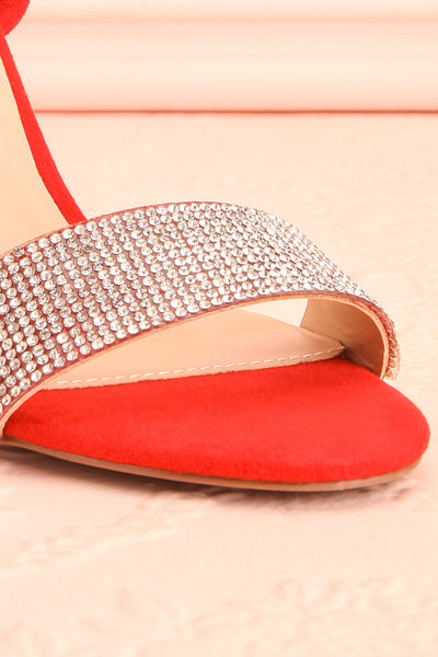 Orfila Red Slip-On Sandal Stilettos | Talons | Boutique 1861 front close-up