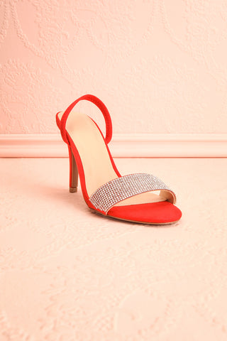 Orfila Red Slip-On Sandal Stilettos | Talons | Boutique 1861 front view