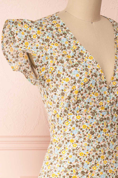Orivesi Colorful Floral Midi Dress w/ Frills | Boutique 1861 side close-up