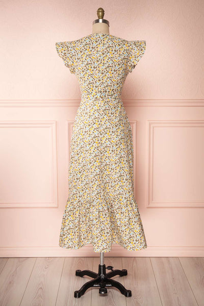 Orivesi Colorful Floral Midi Dress w/ Frills | Boutique 1861 back view