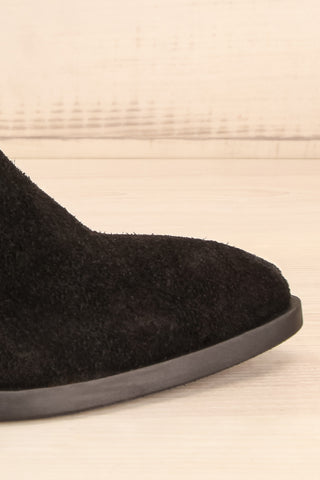 Ormesson Black Suede Ankle Boots side front close-up | La Petite Garçonne Chpt.2