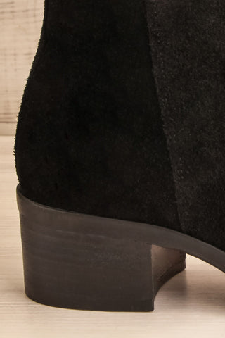 Ormesson Black Suede Ankle Boots side back close-up | La Petite Garçonne Chpt.2