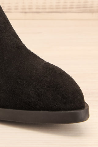 Ormesson Black Suede Ankle Boots front close-up | La Petite Garçonne Chpt.2