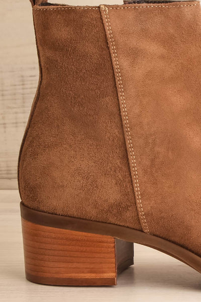 Ormesson Taupe Suede Ankle Boots | La Petite Garçonne Chpt.2 side back close-up