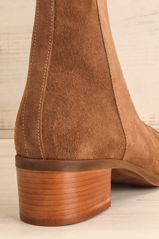 Ormesson Taupe Suede Ankle Boots | La Petite Garçonne Chpt.2 back close-up
