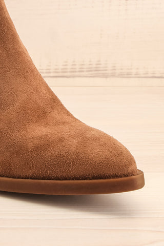 Ormesson Taupe Suede Ankle Boots | La Petite Garçonne Chpt.2 front close-up