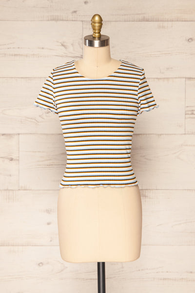 Otmuchow Striped Short Sleeve Crop Top | La petite garçonne  front view