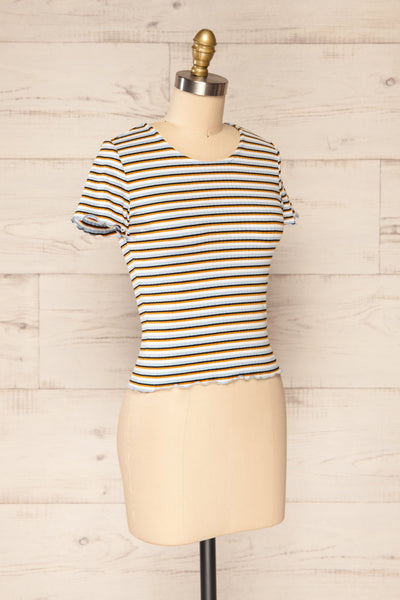 Otmuchow Striped Short Sleeve Crop Top | La petite garçonne  side view