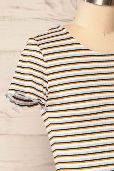 Otmuchow Striped Short Sleeve Crop Top | La petite garçonne side close up