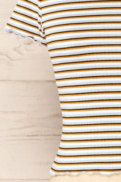 Otmuchow Striped Short Sleeve Crop Top | La petite garçonne  close up