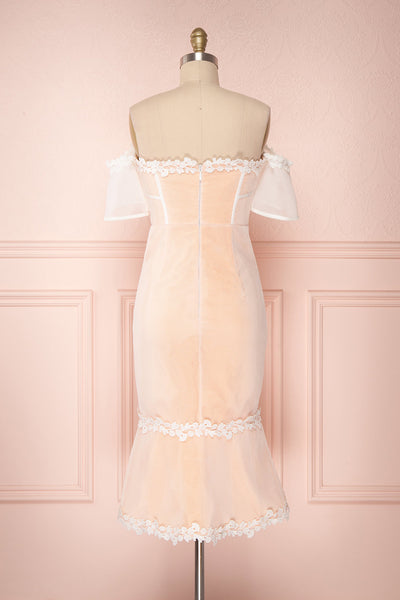 Oustina White Mesh & Peach Mermaid Cocktail Dress | Boutique 1861 side close-up