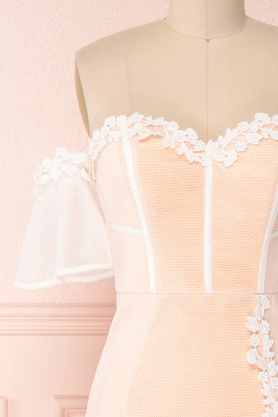 Oustina White Mesh & Peach Mermaid Cocktail Dress | Boutique 1861 front close-up