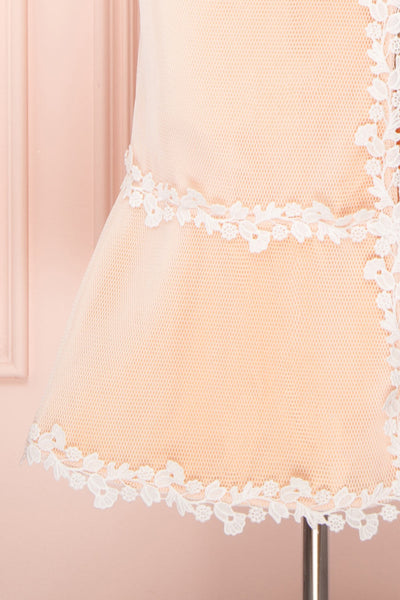 Oustina White Mesh & Peach Mermaid Cocktail Dress | Boutique 1861 bottom close-up