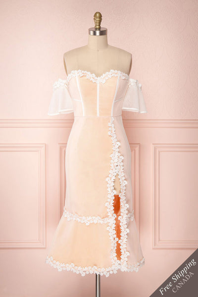 Oustina White Mesh & Peach Mermaid Cocktail Dress | Boutique 1861 front view