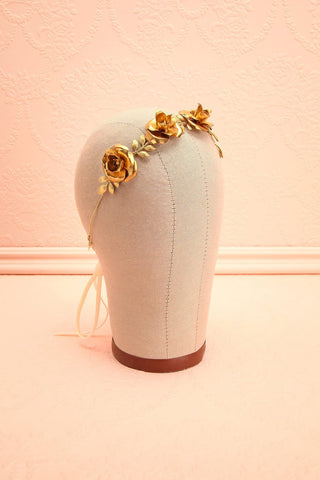 Oxalyde - Golden leaves and flowers crown with pearls