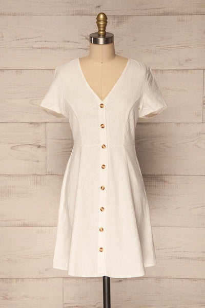 Paceco Neige White Button-Up A-Line Dress | La Petite Garçonne