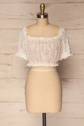 Padules White Mesh Off-Shoulder Crop Top | La Petite Garçonne