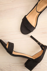 Pajol Coffee Black Low Block Heel Sandals | La Petite Garçonne