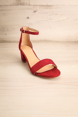 Pajol Wine Burgundy Low Block Heel Sandals | La Petite Garçonne 3