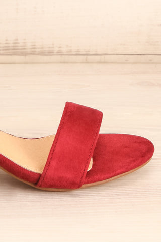 Pajol Wine Burgundy Low Block Heel Sandals | La Petite Garçonne 7