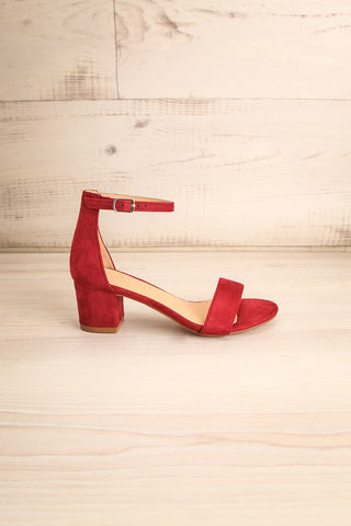 Pajol Wine Burgundy Low Block Heel Sandals | La Petite Garçonne 5