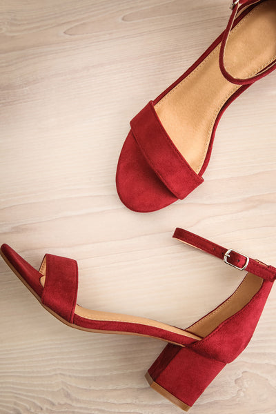 Pajol Wine Burgundy Low Block Heel Sandals | La Petite Garçonne 1
