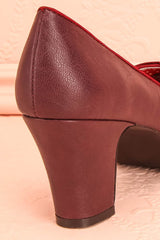 Pallisa Bourgogne - Burgundy peep-toe medium-heel shoes