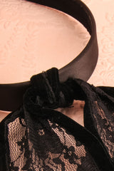 Panicaut - Black lace bunny ears headband