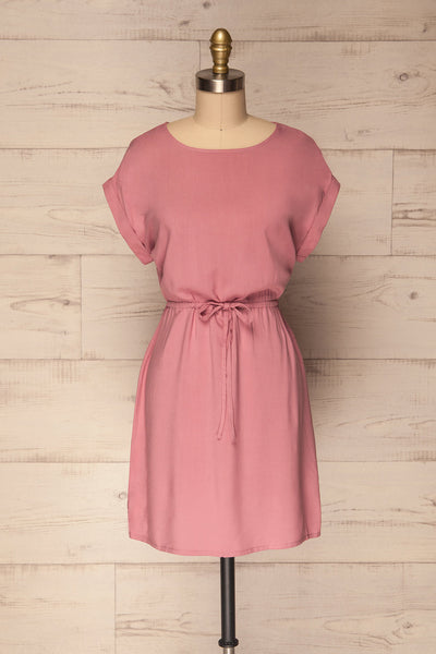 Paral Pink Loose Short Sleeved Short Dress | La Petite Garçonne