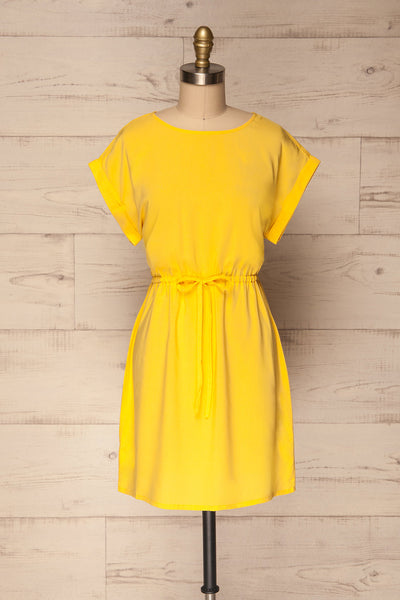 Paral Yellow Loose Short Sleeved Short Dress | La Petite Garçonne