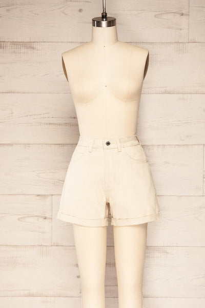 Park Beige High-Waisted Denim Shorts | La petite garçonne front view