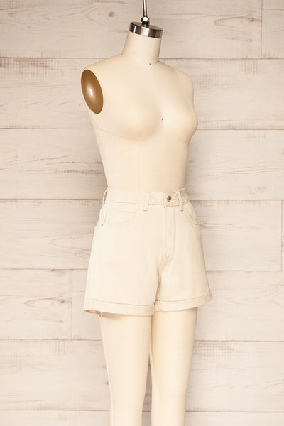 Park Beige High-Waisted Denim Shorts | La petite garçonne side view