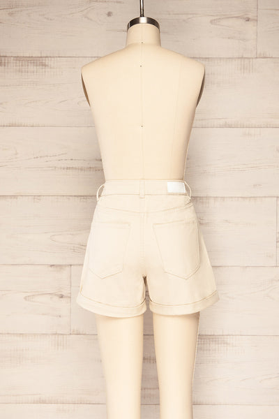 Park Beige High-Waisted Denim Shorts | La petite garçonne back view