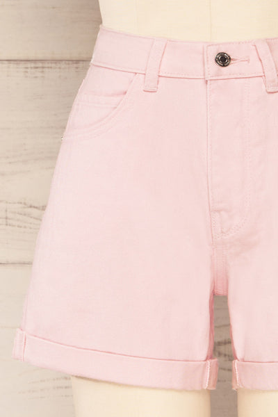 Park Pink High-Waisted Denim Shorts | La petite garçonne front close-up