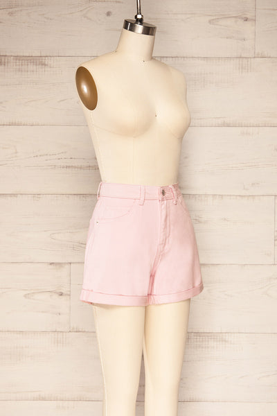 Park Pink High-Waisted Denim Shorts | La petite garçonne side view