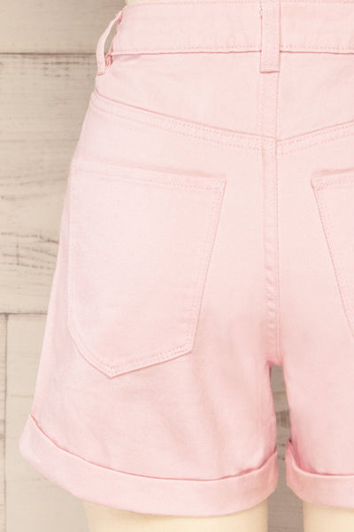 Park Pink High-Waisted Denim Shorts | La petite garçonne back close-up