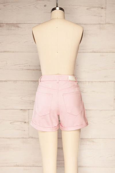 Park Pink High-Waisted Denim Shorts | La petite garçonne back view