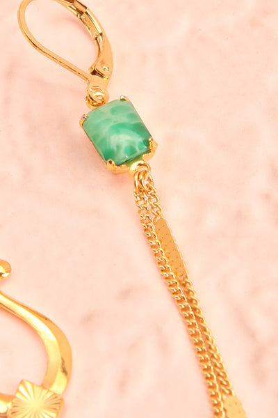 Paulettine Jade Golden & Green Pendant Earrings flat close-up | Boutique 1861