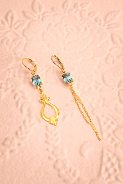 Paulettine Topaz Golden & Blue Pendant Earrings | Boutique 1861
