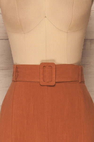 Pelczyce Rust Flared Midi Skirt w/ Belt front close up | La petite garçonne