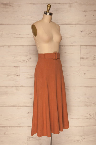 Pelczyce Rust Flared Midi Skirt w/ Belt side view | La petite garçonne