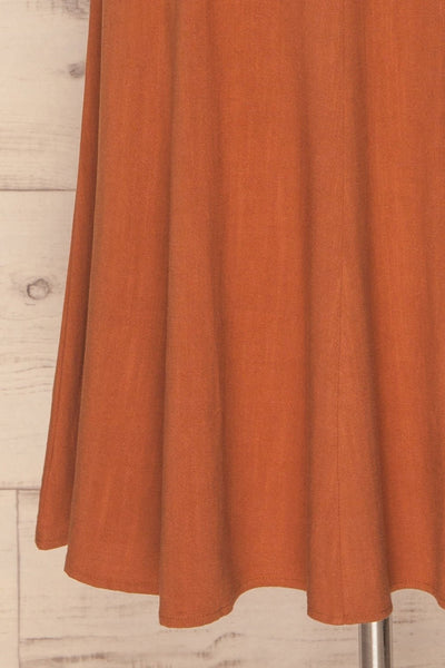 Pelczyce Rust Flared Midi Skirt w/ Belt skirt close up | La petite garçonne