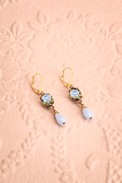 Penny Silje Blue Floral Pendant Earrings | Boutique 1861