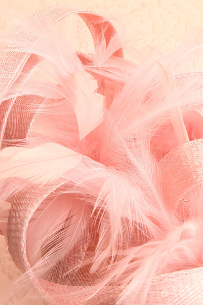 Perdita Pink Fascinator w/ Feathers | Boutique 1861 flat close-up