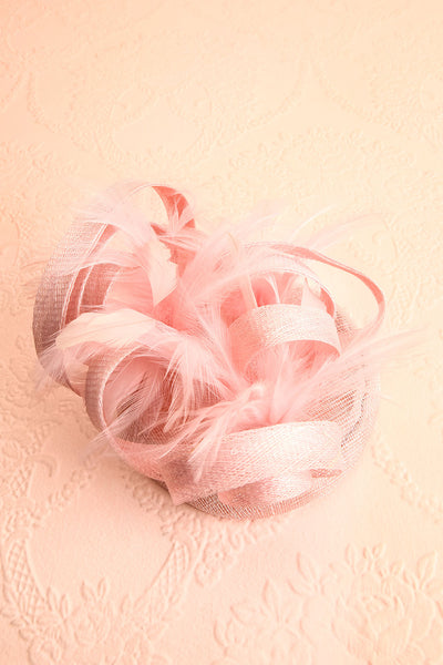 Perdita Pink Fascinator w/ Feathers | Boutique 1861 flat view