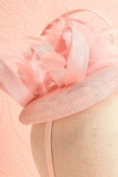 Perdita Pink Fascinator w/ Feathers | Boutique 1861 close-up