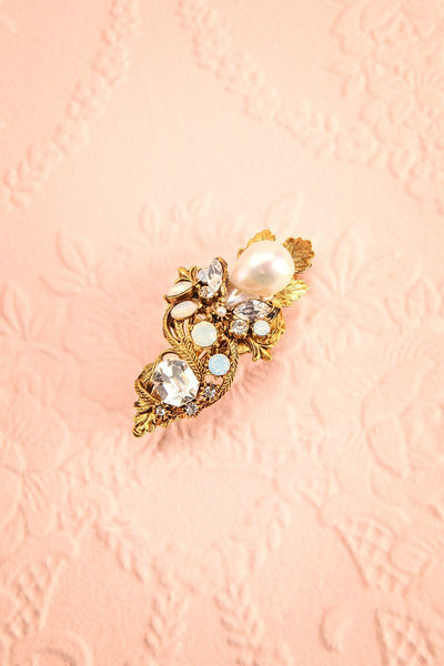 Perlina Antique Gold Hair Clip with Pearls and Crystals | Boudoir 1861