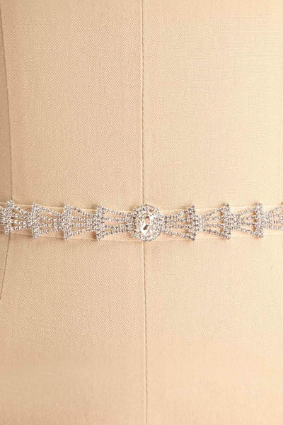 Persis White Ribbon Belt w/ Rhinestones | Boutique 1861 close-up